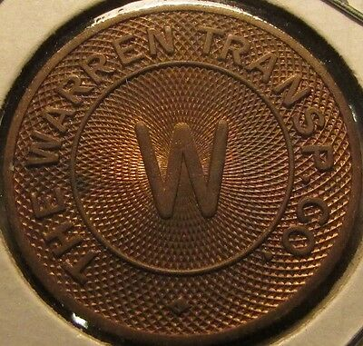 1947 Brass Warren, OH Transp. Co. Transit Bus Token - Ohio