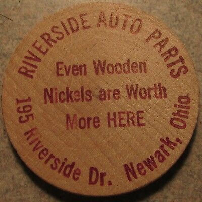 Vintage Riverside Auto Parts Newark, OH Wooden Nickel - Token Ohio