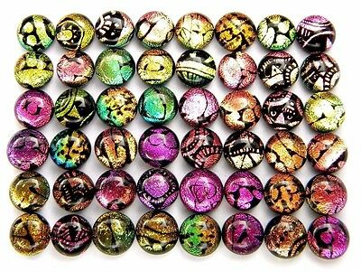 etched TINY RAINBOW Lot 48 pcs DICHROIC earrings FUSED GLASS (BA2) cabochon