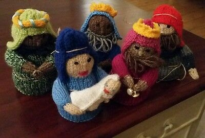 Six piece hand knitted nativity set 3 wise men, shepherd Mary  and Joseph.