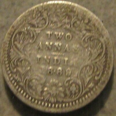 1889 Indian Two Annas Silver Coin - India