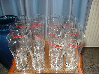 12 X Boxed Kingfisher 1/2 Pt Beer Glasses - Brand New And Unused