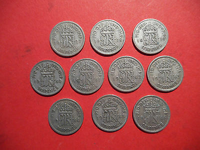 George 6th SILVER SIXPENCE coins COMPLETE SET 1937 to 1946 - good condition