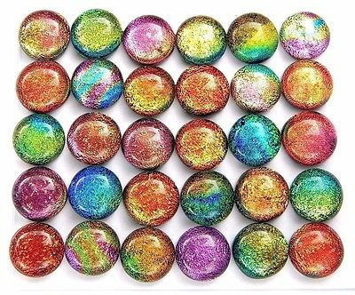 RAINBOW Lot 30pcs round DICHROIC earrings bracelet FUSED GLASS (BB10) CAB