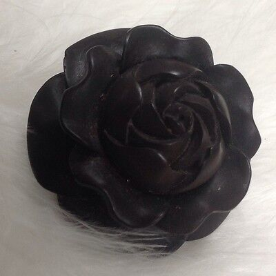 BEAUTIFUL ANTIQUE Gothic Victorian Mourning Whitby Jet Brooch ROSE IN BLOOM