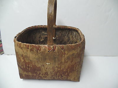 Antique Birch Bark Indian Native American Handled Basket Signed & Dated 1921 Wis