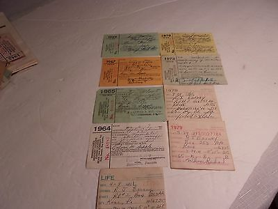 Vintage Lot of Nine ( 9 ) Pennsylvania Fishing Licenses with a Lifetime License