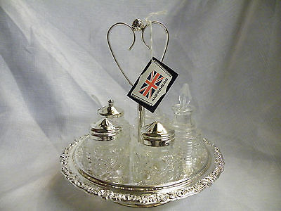 Vintage SILVER PLATED Rotating Condiment Set 5 Piece Cruet
