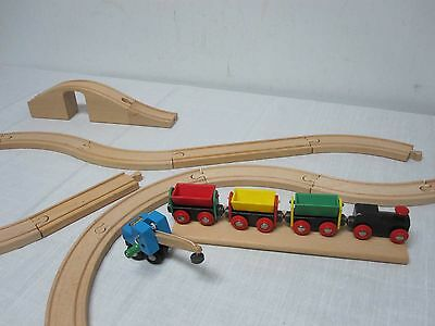 Assorted Vintage Brio Wood Trains And Track