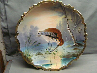 L. S. & S. Austria Carlsbad Hand Painted Charger Plaque Snipe Signed