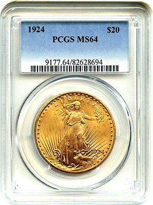 1924 $20 PCGS MS64 - Saint Gaudens Double Eagle - Gold Coin