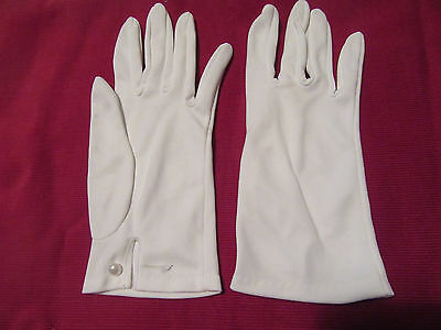 Pr. Vintage white cotton mix ladies girls gloves pearl button S