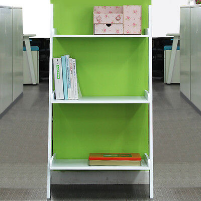 White Leaning Ladder Shelf with Three Tiers - Modern Display Shelving Unit,Book