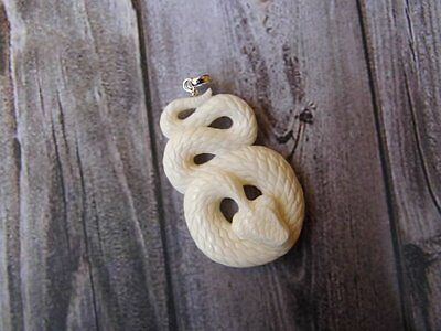 Pendant Necklace Cobra Snake From Buffalo Bone Carved with Silver 925_b214