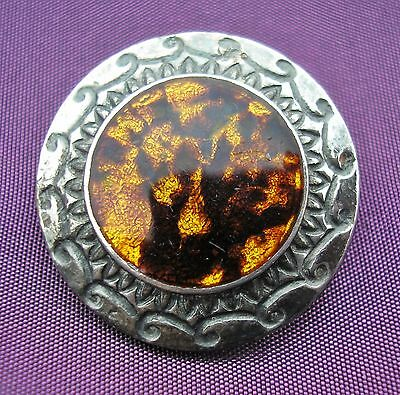 Very pretty antique Arts & Crafts Silver brooch with mauve & gold enamel