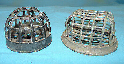 2 Vintage Metal Cage Flower Frogs Square & Domed