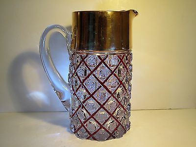 Antique EAPG Ruby Stain Checkerboard / Bridal Rosettes Tankard Water Pitcher
