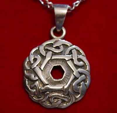 0195 Celtic infinity knot Charm Good Luck Weave Wicca Sterling silver jewelry
