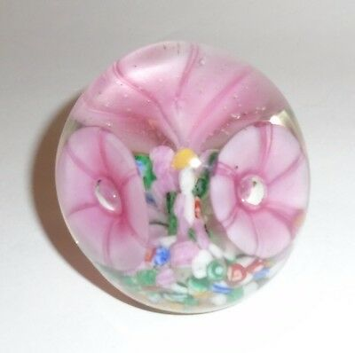 Vintage Art Glass Paperweight with Internal Rose Pink Flowers