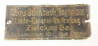 WW2 ORIGINAL German DATA PLATE RELIC of 14. Pz. Div. from Kurland