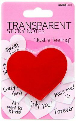 SUCK UK Transparent Heart Shaped Sticky Notes