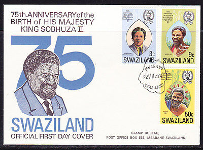 Swaziland 1974 - 75th Birthday King Sobhuza First Day Cover.- Unaddressed