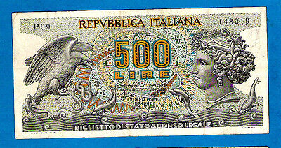 Italy P93a(1) 500 Lira Eagle with Snake ARETHUSA 1st Issue 20.6.1966  aXF SCARCE