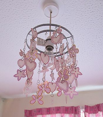 """BOHO Pink/Lilac HEARTS/ FLOWERS/BUTTERFLIES Chandelier effect Lampshade 8"""" x 7"""""""