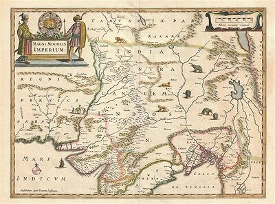 1641 Jansson Map of Northern India, Nepal, and Pakistan