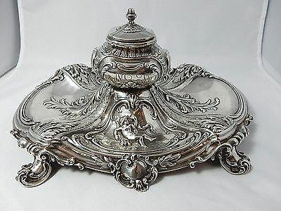 MUSEUM quality Gorham sterling 1892 Cherub inkwell!  Crisp + cast Revival style