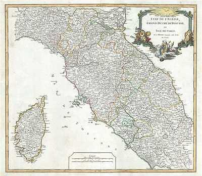 1750 Vaugondy Map of Central Italy (Tuscany and Corsica)