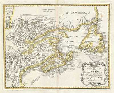 1755 Homann Heirs Map of New England and Eastern Canada (Nova Scotia, Quebec)