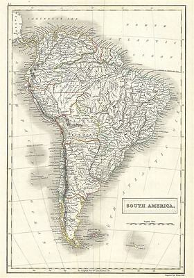 1844 Black Map of South America
