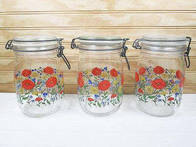 3 Vtg Arc France Glass Storage Jars Set Wild Flowers Wire Bail Lid Canister Lot