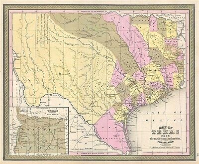 1849 Mitchell Map of Texas