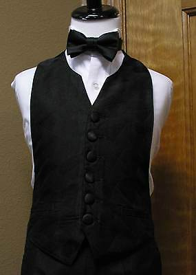 Boys Vest and bowtie Black 3-8 Silhouette Party Dance Wedding Formal Tuxedo tie
