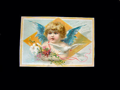 Victorian Trade Card=Winged Angel Face Child with Bouquet & Dove=Lion Coffee