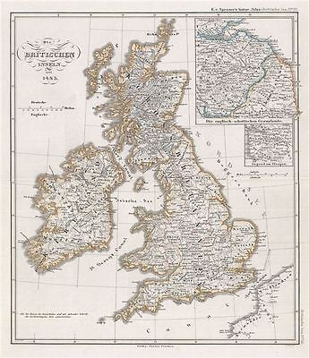 1854 Spruner Map of the British Isles in 1485