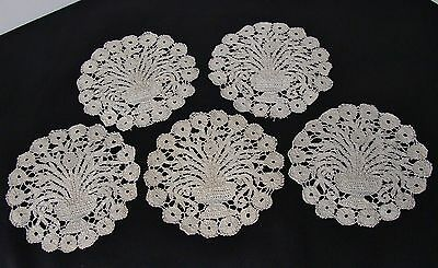 Lot of 5 Antique Small Lace Doilies