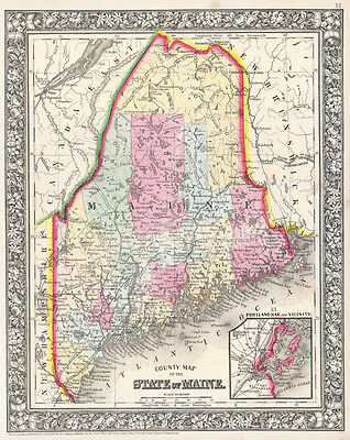 1864 Mitchell Map of Maine