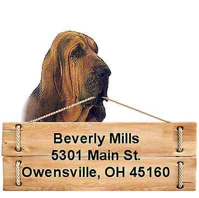 Bloodhound return address labels die cut to shape of dog and sign