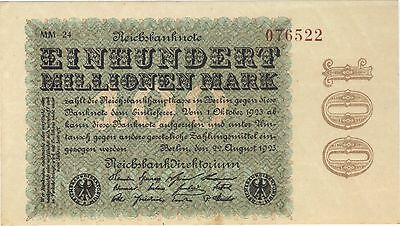 1923 100 Million Mark Germany Currency Unc Reichsbanknote German Banknote Note