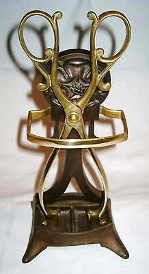 Antique Brass Fireplace Tongs with Decorative Metal and Brass Stand