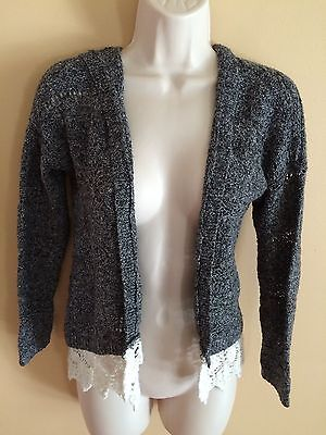 Girls Abercrombie & Fitch Gray Hooded Sweater Wrap w/Lace Design Sz 9/10 - Cute!