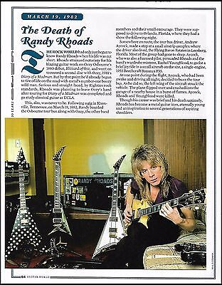 The Death of Randy Rhoads 8 x 11 full page article Jackson & Les Paul Guitars