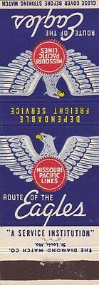 Missouri Pacific Lines Railroad Matchbook Cover.
