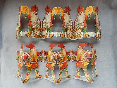 2 Vintage Swedish Die Cut Folding Paper Tomte Elf Garland Christmas Decoration