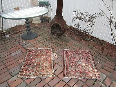 twin lots of 2 old estate antique fine handmade persian oriental rug