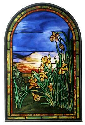 """Tiffany Style Yellow """"daffodils"""" Stained Art Glass Window Panel Wall Hanging"""