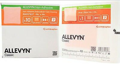 "Smith and Nephew 66927637 Allevyn Non Adhesive Foam Dressing 4"" x 4"" - Box of 10"